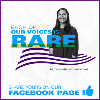 HAE patient ambassador Liz, diagnosed with HAE in 2013. Each of our voices is rare, share yours on our Facebook page.